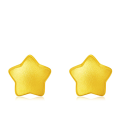 周大福珠宝首饰星星足金黄金耳钉耳环