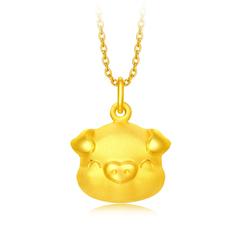 周大福 十二生肖 爱心小猪足金黄金吊坠