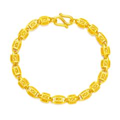 周大福精美拉丝工艺黄金珠链