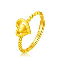 周大福浪漫爱心纽纹黄金足金戒指
