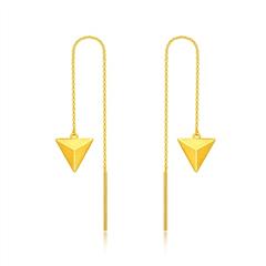 周大福几何三角形足金黄金耳饰