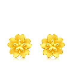 【电商专款】周大福精美花朵足金耳环-对称款