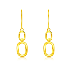 周大福 ING系列復古幾何雙環 黃金耳環耳飾