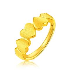 周大福浪漫心形足金黄金戒指