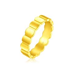 周大福 ING系列 蜂巢足金黄金戒指