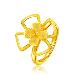 周大福 花月佳期 铸模花形开口足金黄金戒指