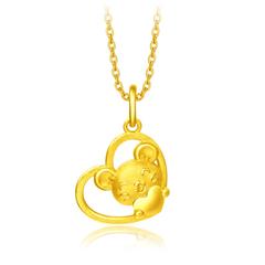 周大福十二生肖鼠金鼠抱心鼠足金黄金吊坠