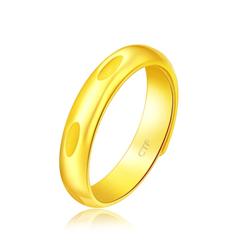 周大福 幾何足金黃金開口戒指