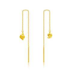 周大福 海洋風海螺足金黃金耳線耳飾
