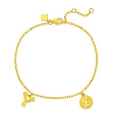【电商专款】周大福 珠宝首饰生肖鼠钥匙锁足金黄金手链计价