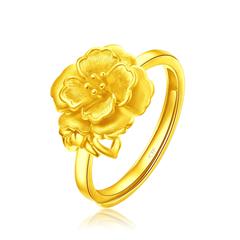 周大福 珠宝首饰复古花型足金黄金开口戒指计价