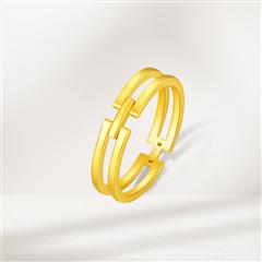 周大福  简约几何方双环计价黄金足金戒指