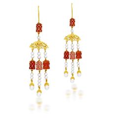 【联系客服订购】故宫文化系列穿珠流苏黄金足金镶玛瑙珍珠耳环