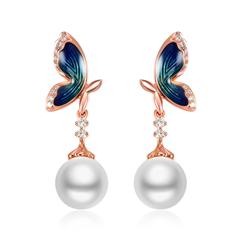 【联系客服订购】故宫系列翩翩起舞玫瑰色18K金镶钻石珍珠耳钉
