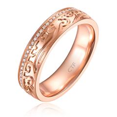 【联系客服订购】故宫系列事事如意玫瑰色18K金钻石戒指