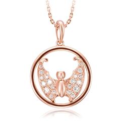 【联系客服订购】故宫系列幸福如意玫瑰色18K金钻石挂坠