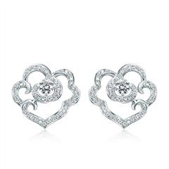 【联系客服订购】故宫系列事事如意白色18K金钻石耳饰