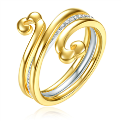 【联系客服订购】故宫系列祥云缭绕黄色18K金钻石戒指