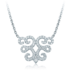 【联系客服订购】故宫系列祥云缭绕白色18K金钻石项链