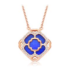 周大福JEWELRIA 故宫文化珠宝系列 窗花(蓝) 接祥纳瑞18K金镶钻