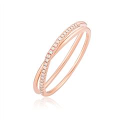 周大福MONOLOGUE独白 MIX系列 时尚几何个性18K玫瑰金戒指