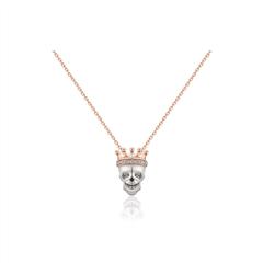 周大福MONOLOGUE独白 MIX系列 时尚骷髅头18K金镶钻石项链