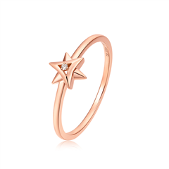 周大福MONOLOGUE独白 LIGHTBOOM系列 18K玫瑰金色钻时尚戒指
