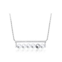 周大福MONOLOGUE主角 几何时尚银珍珠项链