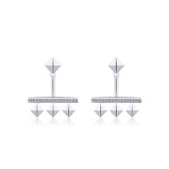 周大福MONOLOGUE独白 主角系列 欧美几何 银托帕石耳钉
