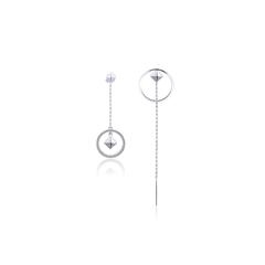 周大福MONOLOGUE独白主角系列欧美风几何银托帕石耳钉