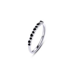 周大福MONOLOGUE獨白 MIX系列 個性9k銀白色黑鉆戒指