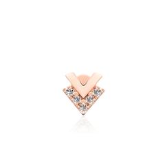 周大福MONOLOGUE独白MIX系列唯美9K金钻石耳钉(单只)