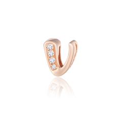 周大福MONOLOGUE独白 MIX系列 时尚简约字母V18K玫瑰金镶钻石吊坠/项链