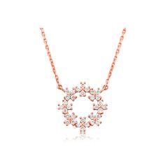 周大福MONOLOGUE独白 时尚璀璨花环9K玫瑰金镶钻石项链/吊坠