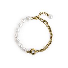 周大福MONOLOGUE巴洛克风异形珠拼接手链复古3D硬金黄金珍珠手链