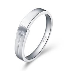 【刻字】周大福情约系列花款Pt950铂金钻石戒指