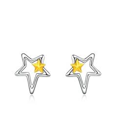 周大福 珠宝首饰个性星星PT950铂金黄金耳钉耳饰一对