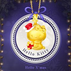 周大福Hello Kitty凯蒂猫圣诞礼物黄金吊坠