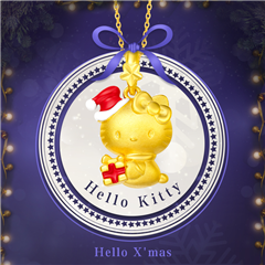 周大福Hello Kitty凱蒂貓圣誕禮物黃金吊墜