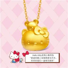 周大福HELLO KITTY系列凯蒂猫足金黄金吊坠