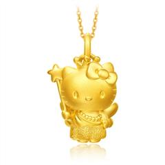 周大福 Hello Kitty凯蒂猫 仙女足金黄金吊坠