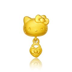 周大福Hello Kitty凯蒂猫同心锁黄金吊坠