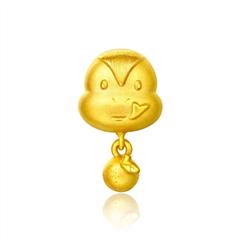 周大福生肖蛇足金黄金吊坠转运珠