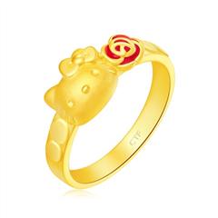 周大福HELLO KITTY凯蒂猫玫瑰花足金黄金戒指