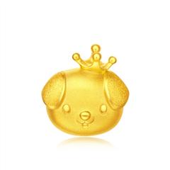 周大福生肖狗 可爱皇冠小金毛足金黄金吊坠转运珠