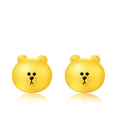 周大福 LINE FRIENDS 布朗熊足金黄金耳钉