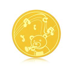 【电商专款】周大福奏乐小熊快乐金章定价足金黄金金币