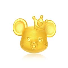 周大福 十二生肖鼠 皇冠鼠 定价足金黄金转运珠/吊坠(不配送皮绳)