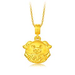 【电商专款】周大福 智能珠宝系列 黄金镶白贝 生肖吊坠转运珠-猪