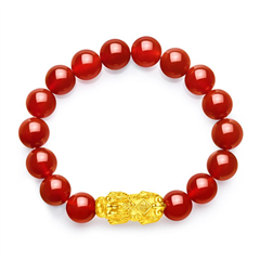 周大福 中國福節貔貅足金黃金玉髓手鏈